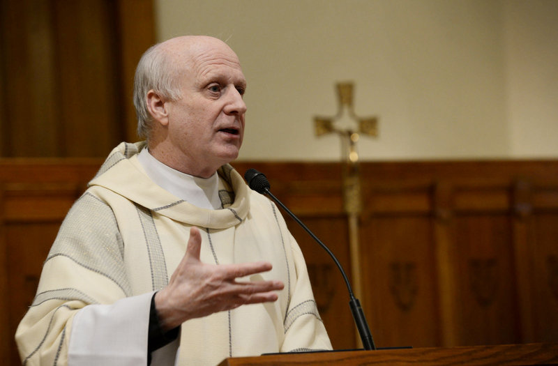 "Michael Henchal speaks to parishioners at St. John the Evangelist Church in South Portland on Feb. 11, 2013. His newly disclosed affair with a church employee before his retirement in July was the subject of a ""healing session"" Monday night at St. Maximilian Kolbe Church in Scarborough."