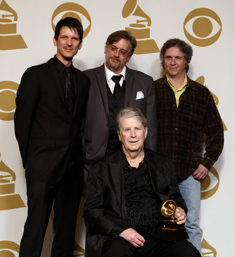 Brian Wilson, front, with, from left, Dennis Wolfe, Alan Boyd, and Mark Linett.