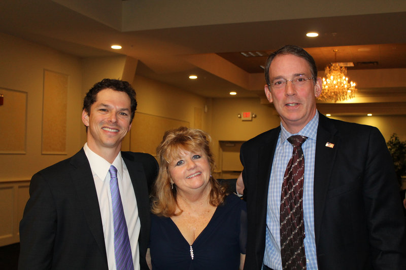 Maine Senate President Justin Alfond, left, with Barbara Campbell Harvey and Halsey B. Frank.