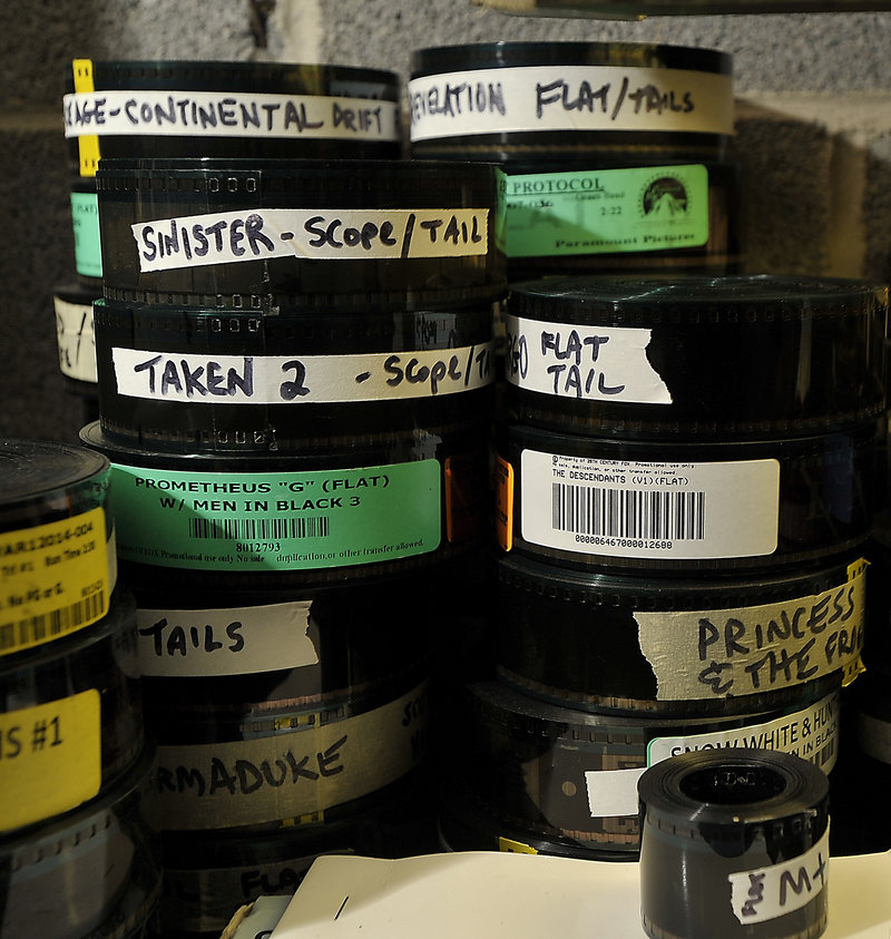 Old-fashioned 35 mm film reels at the Saco Drive-In theater. Like many drive-ins and old movie theaters, if the Saco Drive-In doesn't make the $90,000 switch to digital, it will likely have to shutter.