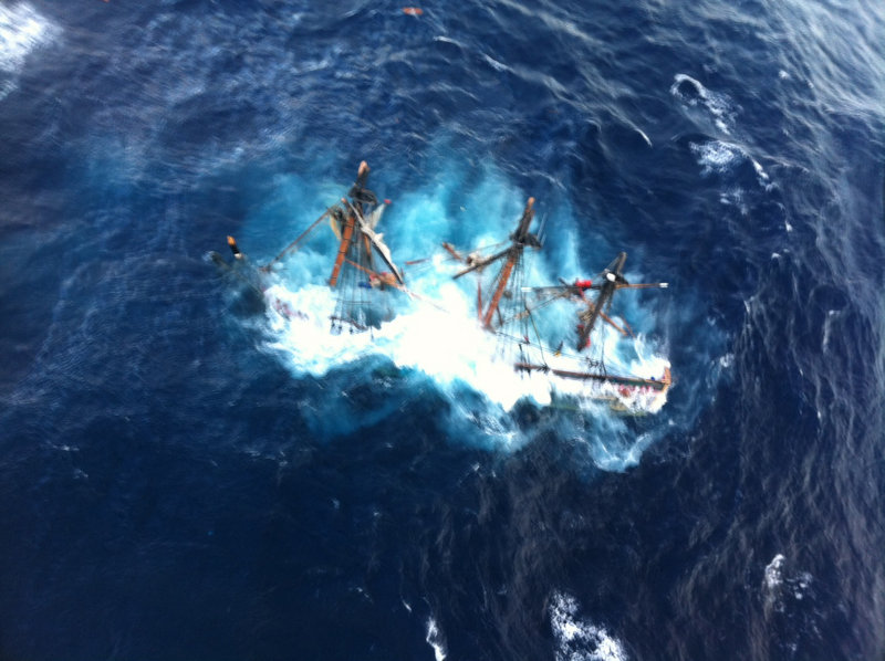 This Coast Guard photo shows the HMS Bounty, a 180-foot replica sailboat, submerged in the Atlantic Ocean during Hurricane Sandy off North Carolina on Oct. 29, 2012. A representative from Maine's Boothbay Harbor Shipyard, where the Bounty underwent repairs weeks before sinking, was set to testify Wednesday.