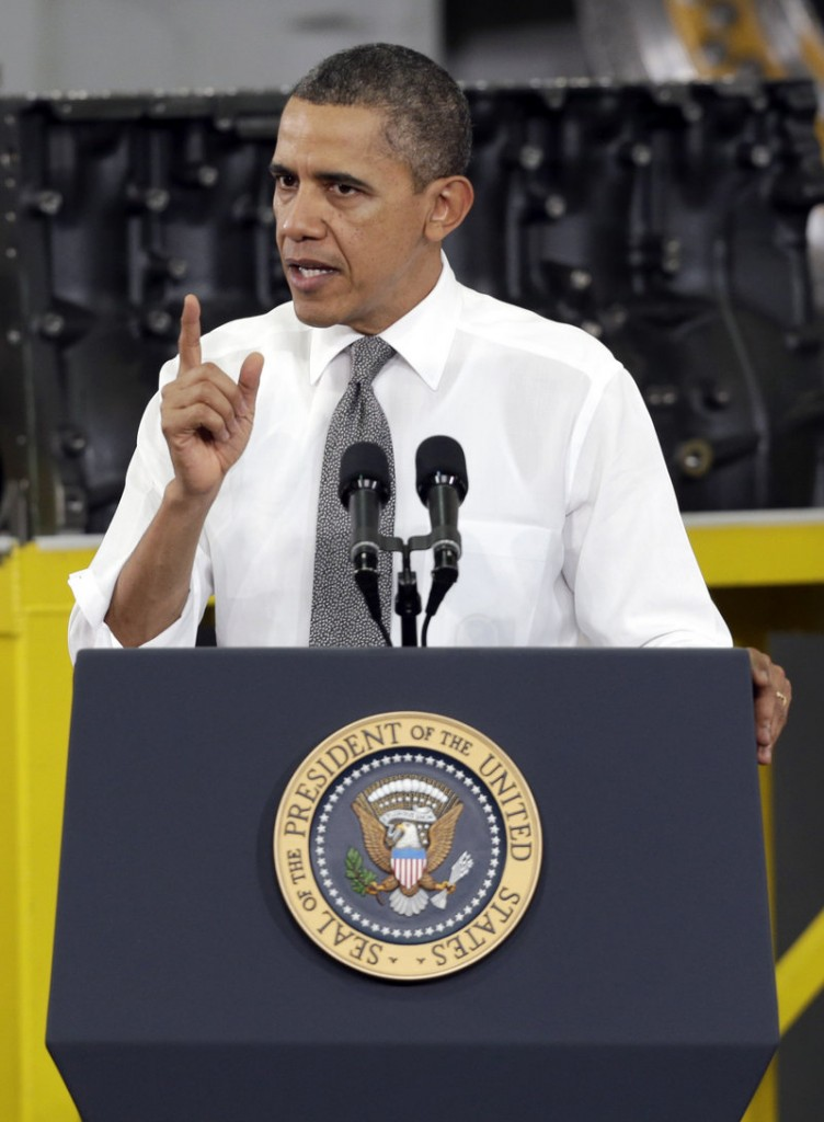 President Obama speaks to workers and guests Wednesday at the manufacturing plant reopened by Linamar Corp. in Asheville, N.C.
