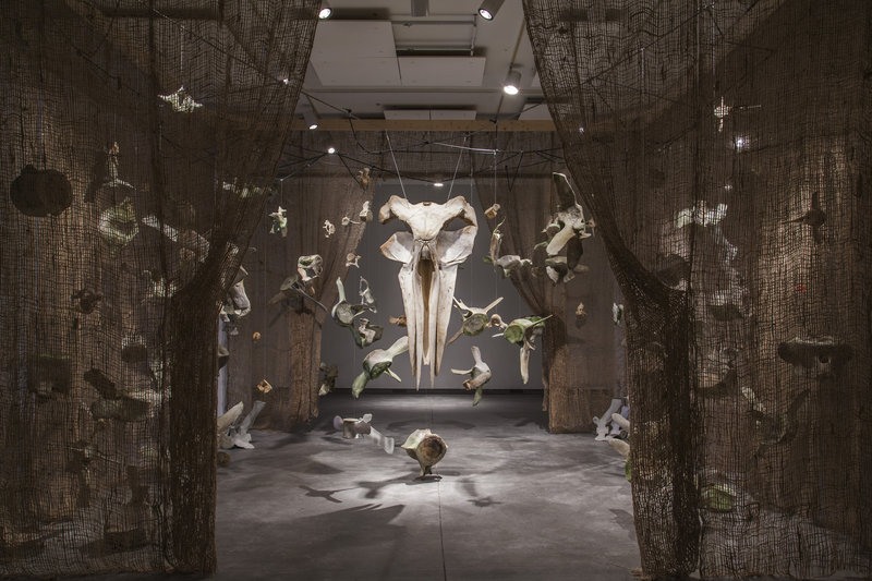 "Installation view of ""Dan DenDanto and Frank DenDanto: BUMP,"" on view through April 7 at the Institute of Contemporary Art at Maine College of Art in Portland. The show consists of bones from three different whales that most likely died from collisions with ship propellers."