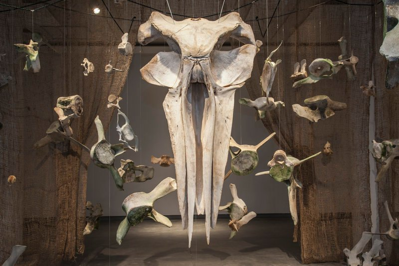 "The DenDantos' ""BUMP"" exhibit is made of suspended whale bones."