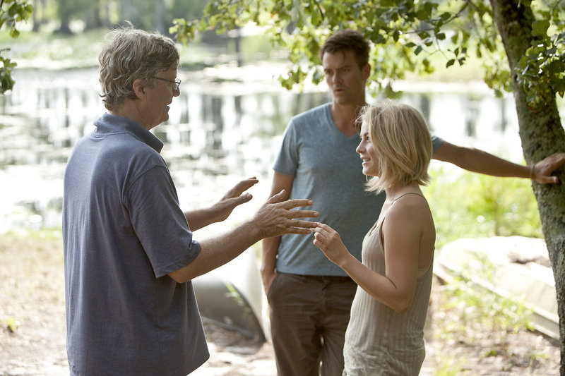 "Julianne Hough on the set of ""Safe Haven"" with director Lasse Hallstrom and co-star Josh Duhamel. Hough says she's ready to prove that she's more than ""just that chick from the dance show."""