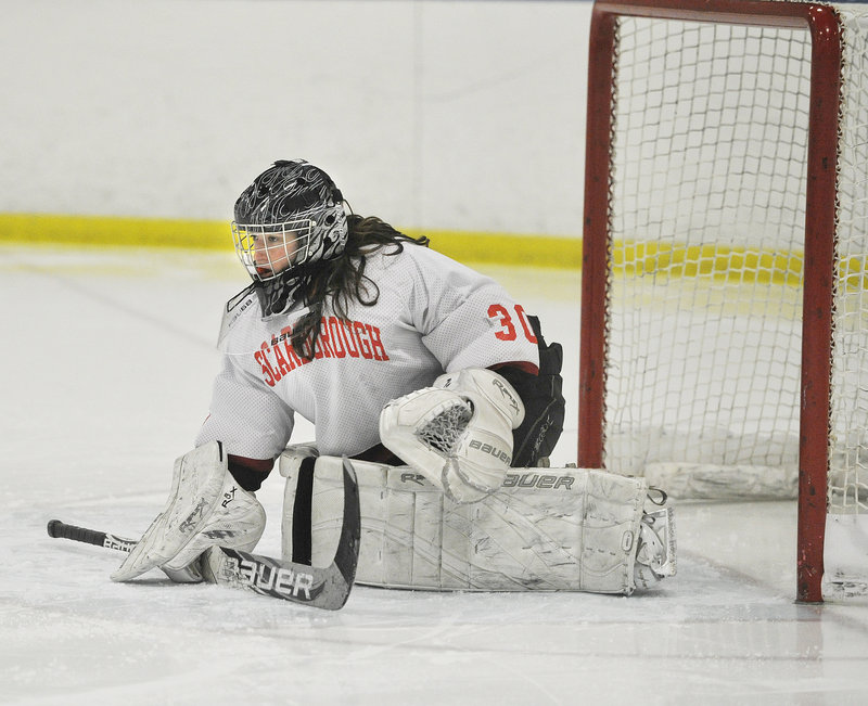 Devan Kane, who made 38 saves when Scarborough played to a 2-2 tie against Greely in the regular season, is one of the major reasons the Red Storm have allowed only 11 goals.