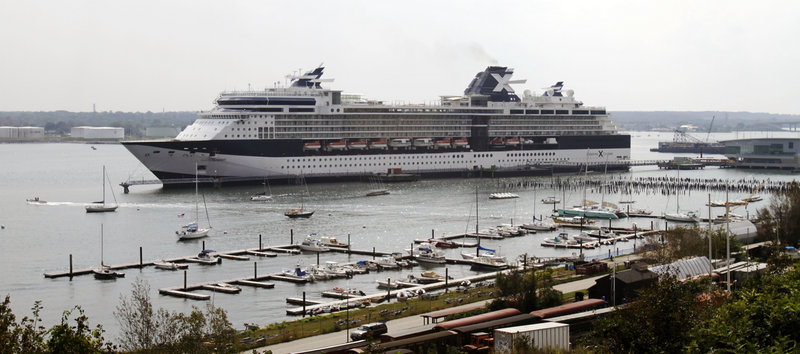 "The Celebrity Summit cruise ship uses Pier II, sometimes referred to as the ""megaberth,"" while tied up in Portland on Sept. 14, 2011."