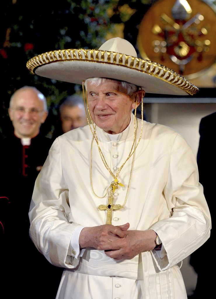 Pope Benedict XVI wears a Mexican sombrero in Leon, Mexico, in March 2012. Turin's La Stampa newspaper reported this week that Benedict hit his head and bled during the trip. No mention was made of the incident at the time. The pope, 85, is reported to have decided to resign shortly after the trip, which he found exhausting.