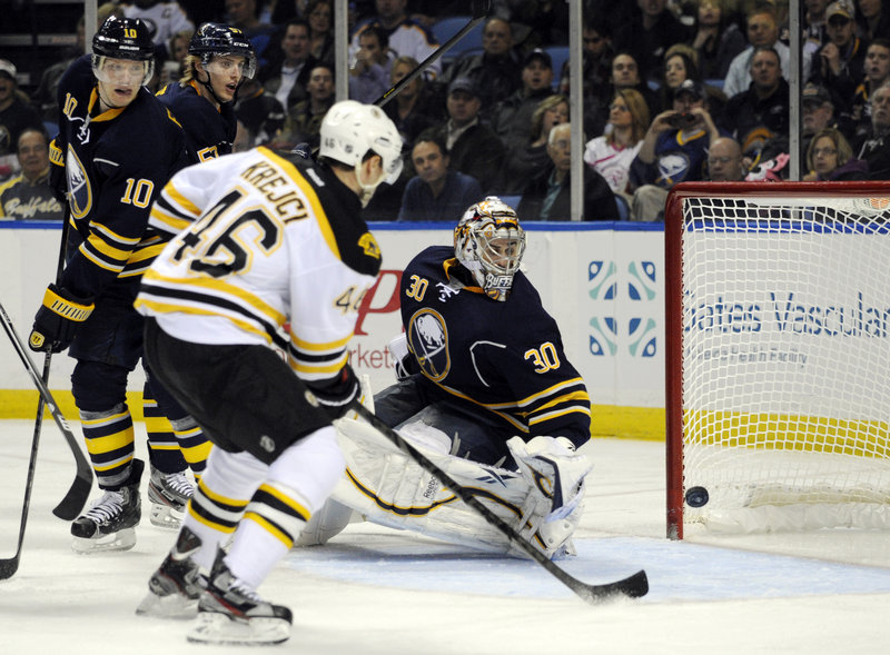 Boston's David Krejci can't take advantage of an open net as his shot clangs off the post while Buffalo goaltender Ryan Miller looks behind and hopes for the better.