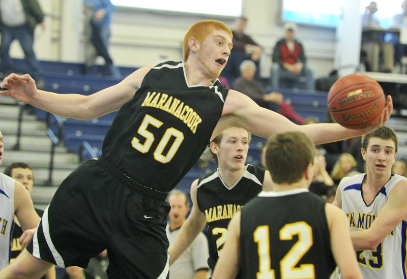 Kyle Boucher was a force for Maranacook in the middle but got little room against Falmouth.