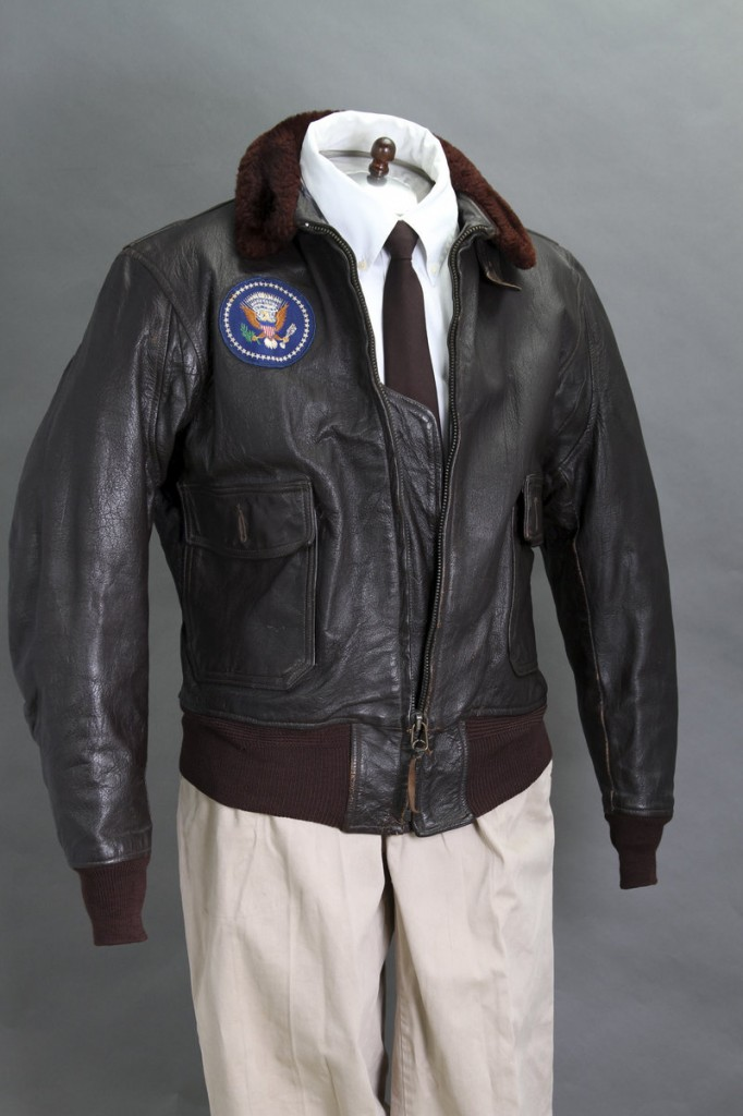 his 2012 file photo provided by John McInnis Auctioneers shows late President John F. Kennedy's Air Force One leather bomber jacket, which sold for $570,000 at an auction on Sunday, Feb. 17, 2013. The jacket is part of a collection of John F. Kennedy memorabilia from the family of David Powers, a former special assistant to the president, that fetched almost $2 million at Sunday's auction at John McInnis Auctioneers in Amesbury, Mass. (AP Photo/John McInnis Auctioneers, Matthew Bourgeois, File)