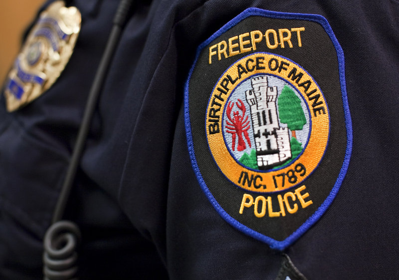 The shoulder patch of the Freeport Police Department states,