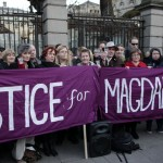 "Relatives of victims of the Magdalene Laundries – where women branded ""fallen"" were consigned – hold a vigil Tuesday in Dublin."