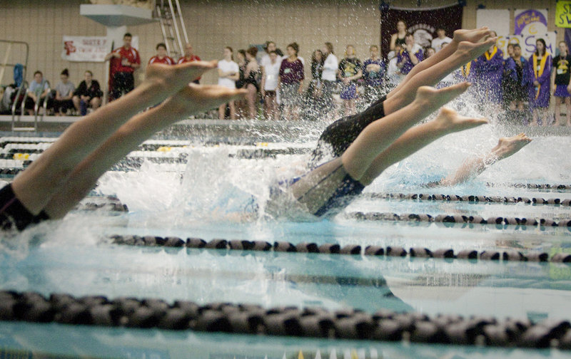 Off they go, straight into the pool for the start of the 500-yard freestyle in the Class A state championships. The race is so long that more than 36 seconds separated the winner from the eighth-place finisher.