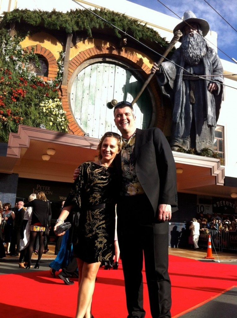 "Eric Saindon and his wife, Beth, at the premiere of ""The Hobbit: An Unexpected Journey"" in Wellington, New Zealand."