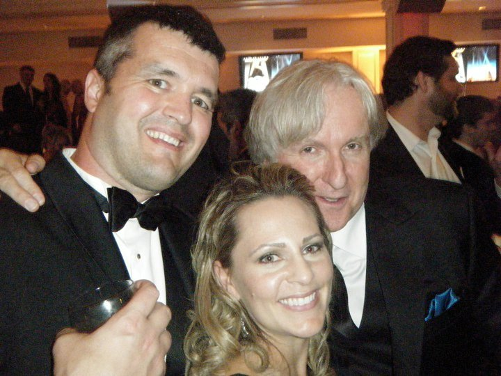 "Eric Saindon with his wife, Beth, and ""Avatar"" director James Cameron at the Academy Awards ceremony in 2010. ""Avatar"" won three Oscars, including Best Visual Effects, Best Cinematography and Best Art Direction."