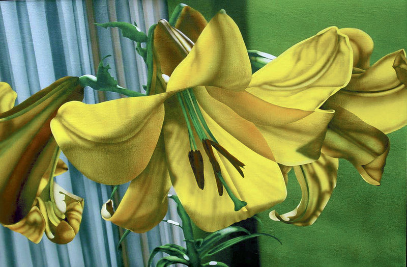 "Beverly Hallam's ""Golden Splendor."" Hallam was most famous for her detailed and intricate airbrush paintings of flowers."