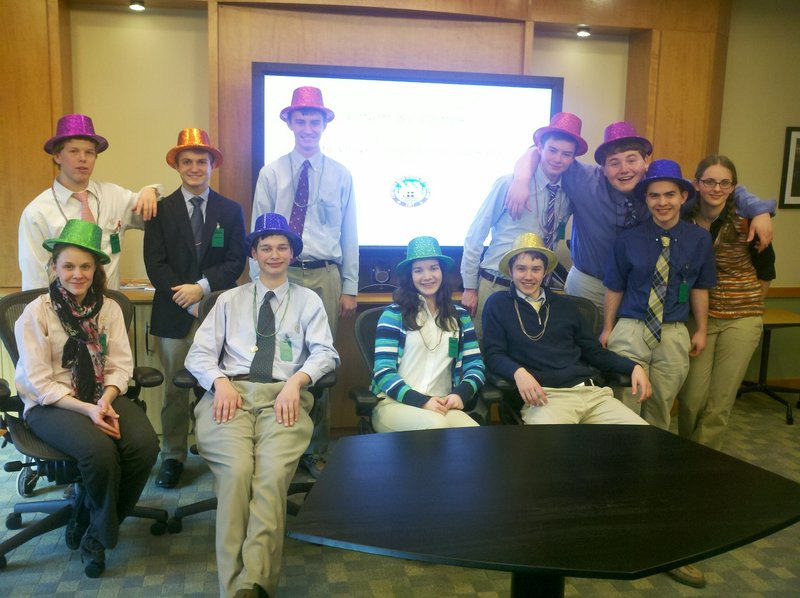 The Cheverus High School Jazz Band played for Unum's Mardi Gras celebration. Pictured, from left front, are Anna Neidermeyer, Brian Chiozzi, Caroline George and Kyle Severance, and back, Jack Sutton, Anders Nelson, Gerry Wagner, Ben Lamontagne, Drew Harmon, Josh Boynton and Louise Nielsen.