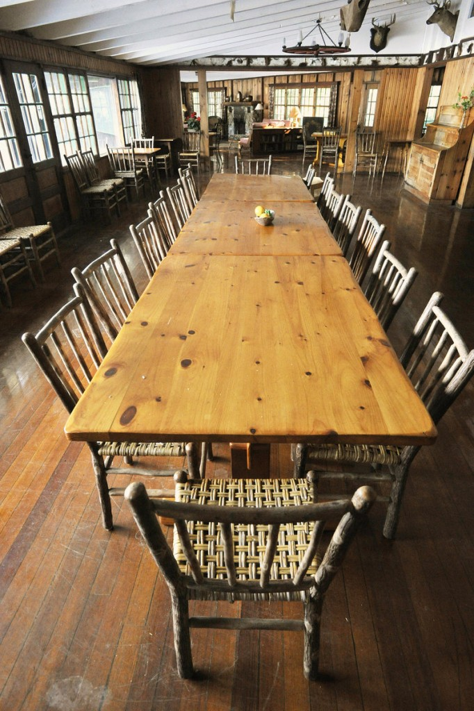 The dining room table in the lodge, where families gathered to share meals.