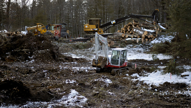 A tree harvesting process along I-295 near Exit 15 is seen Monday, Feb. 25, 2013, as part of the Maine Department of Transportation's plan close and re-route exit 15.