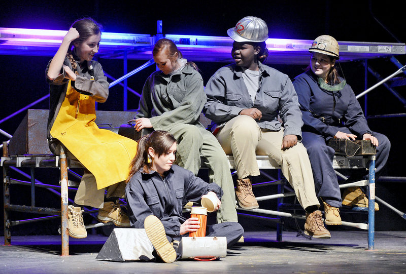 "Deering High School students act out a scene depicting women working at the South Portland Shipyard during rehearsal of their one act play ""Tribute"". From left to right: Lillian Ham, Brittany Burke, Nancy Umba, Tori Grey and sitting is Natalie Veilleux on Tuesday, Feb. 26, 2013."
