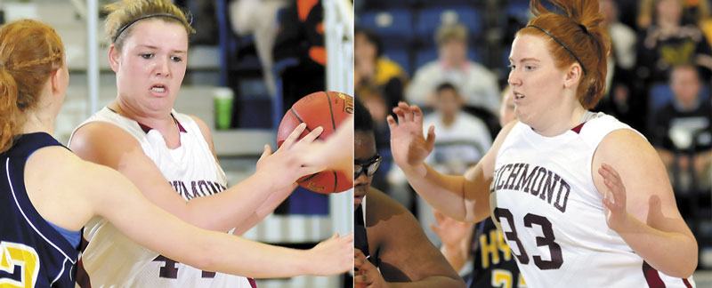 PLAYING A ROLE: Ciarra Lancaster, left, and Alyssa Pearson, right, have emerged as scoring and rebounding threats for the Richmond girls basketball team this season. The Bobcats face Central Aroost in the Class D state championship game for the third straight season Saturday.