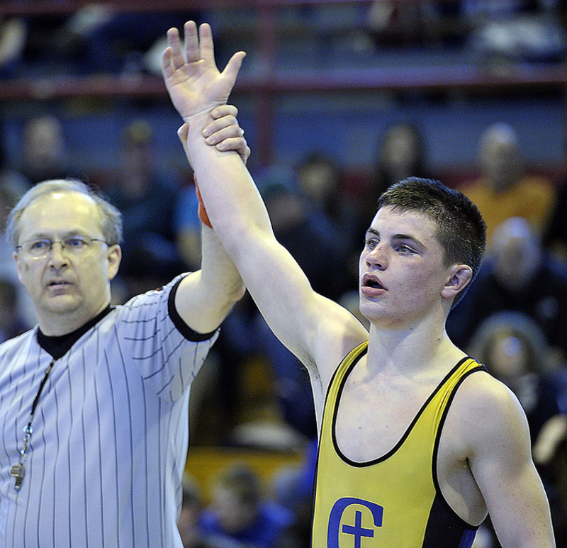 Iain Whitis of Cheverus worked his way through the field to capture the 126-pound title at the Class A wrestling state championships in Sanford on Saturday.