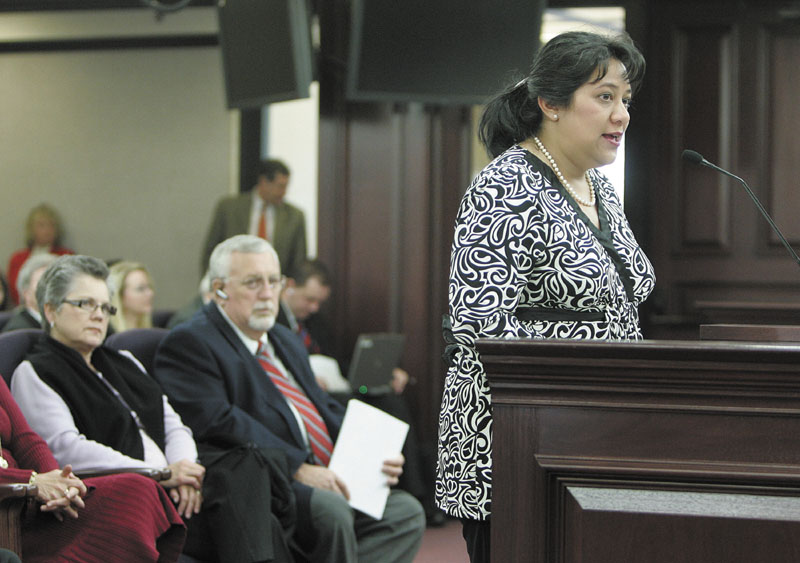 Patricia Levesque speaks before the Florida Senate education committee in Tallahassee in this Associated Press file photo from Wednesday, March 5, 2008.