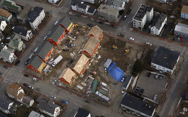 New housing under construction on Munjoy Hill, as seen in this aerial photograph Wednesday, Feb. 6, 2013. Construction is expected to be complete by the spring.