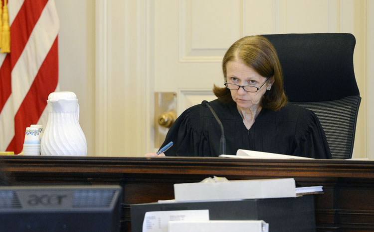 Justice Nancy Mills presides over the Zumba case in York County Superior Court Tuesday, February 19, 2013.
