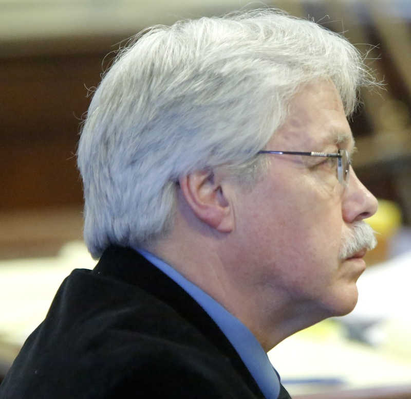 Mark Strong Sr. listens to his attorney Daniel Lilley during closing arguments at York County Superior Court in Alfred on Tuesday, March 5, 2013,.