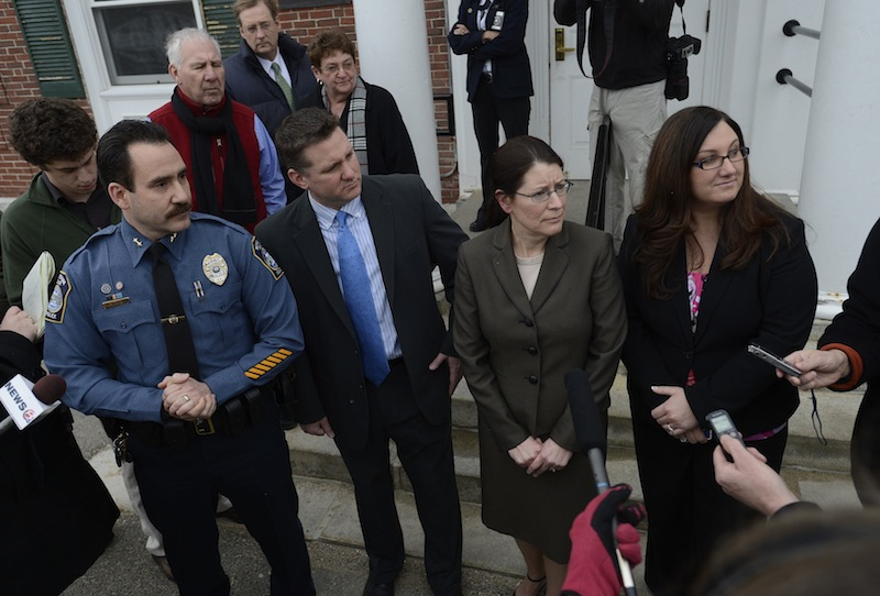 Kennebunk Police Chief Robert MacKenzie, Assistant District Attorney Patrick Gordon, York County Deputy District Attorney Justina McGettigan and Kennebunk police Officer Audra Presby speak with the media following the trial of Mark Strong Sr. on Wednesday, March 6, 2013.