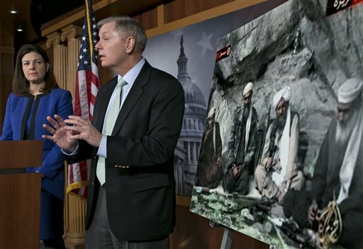 Sen. Lindsey Graham, R-S.C., accompanied by Sen. Kelly Ayotte, R-N.H., speaks to reporters on Capitol Hill In Washington, Thursday, March 7, 2013, about the capture of Osama Bin Laden's son-in-law Sulaiman Abu Ghaith. Sulaiman Abu Ghaith , Osama bin Laden's spokesman and son-in-law has been captured by U.S. intelligence officials, officials said Thursday, in what a senior congressman called a