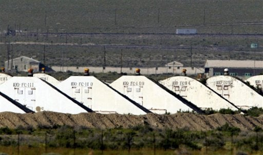 This 2005 photo shows storage bunkers at the Hawthorne Army Depot, where seven Marines from a North Carolina unit were killed and several injured in a training accident on Monday.