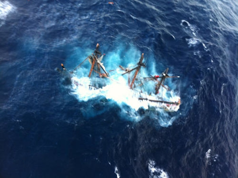 The HMS Bounty, a 180-foot sailboat, is shown submerged in the Atlantic Ocean during Hurricane Sandy approximately 90 miles southeast of Hatteras, N.C., on Oct. 29, 2012.