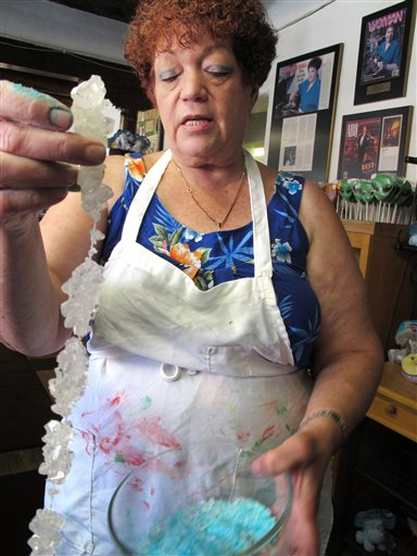 FILE - In this Aug. 20, 2012 file photo, Debbie Ball, 60, owner of The Candy Lady store in Albuquerque, N.M., displays her new line of