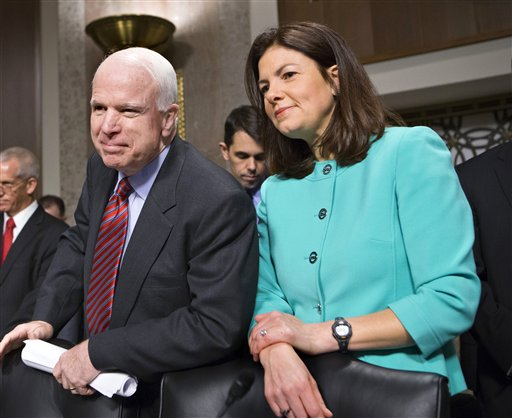 Sen. John McCain, R-Ariz., left, and Sen. Kelly Ayotte, R-N.H., are among lawmakers scheduled to attend a dinner meeting with President Obama Wednesday night.