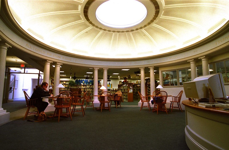 This 1997 file photo shows the rotunda, a predominant feature of the 9,000-square-foot underground Centennial Wing of the Camden Public Library, the peak of which lets in natural light. Maine's Camden Amphitheatre and Public Library has been designated as a national historic landmark along with a dozen other sites around the country. David A. Rodgers