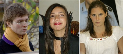 From left: Italian student Raffaele Sollecito, slain 21-year-old British woman Meredith Kercher, and her American roommate Amanda Knox. Amanda Knox was waiting in Seattle to hear if she would face trial again in the murder of Kercher in Italy.
