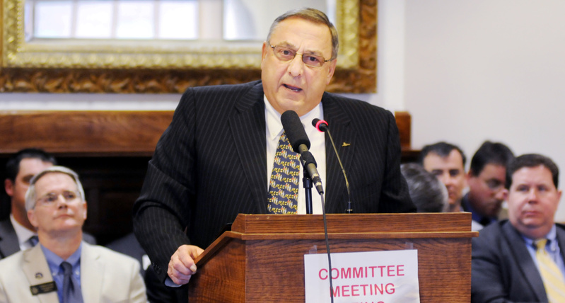 Gov. Paul LePage addresses the Legislature's Veterans and Legal Affairs Committee on Monday at the State House in Augusta. Republican Gov. Paul LePage and top Democratic lawmakers have found common ground on such key issues as debt payments to hospitals and Medicaid expansion. But the progress made Monday apparently wasn't enough for the governor to lift his veto decree.