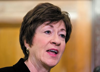"Sen. Susan Collins: ""My constituents, while they may not always agree with every vote, they support the work I'm doing."""
