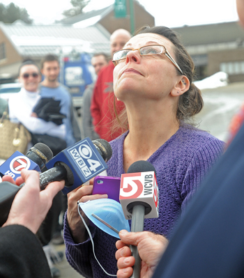 Donna Joy becomes emotional as she reflects on the two days her son Nicolas Joy, 17, was missing on Sugarloaf Mountain as she speaks to media at the Franklin Memorial Hospital in Farmington on Tuesday.