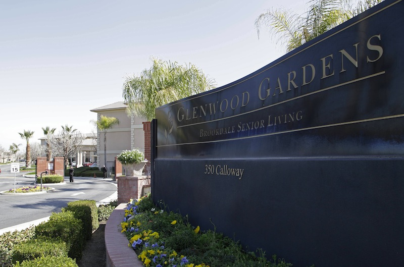 Shown is the main gate of Glenwood Gardens in Bakersfield, Calif., Monday March 4, 2013, where an elderly woman died after a nurse refused to perform CPR on her last week. The central California retirement home is defending one of its nurses who refused pleas by a 911 operator to perform CPR on an elderly woman, who later died.