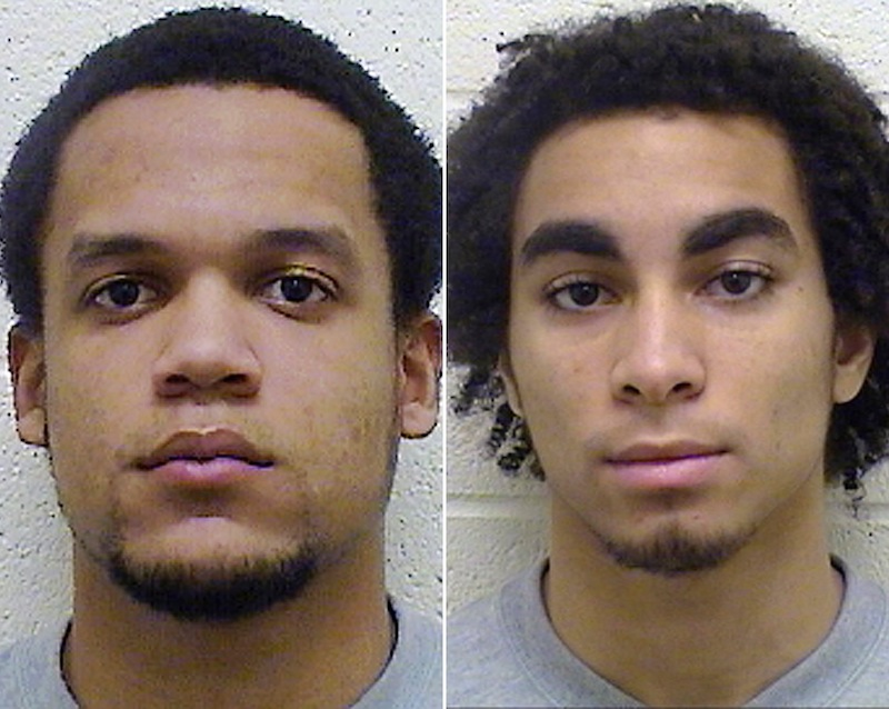 This combo made from undated booking photos released by the Torrington, Conn., Police Department shows Torrington High School football players Edgar Gonzalez, left, and Joan Toribio, charged Monday, March 18, 2013, with felony second-degree sexual assault and other crimes in February in cases involving different 13-year-old girls. One of the 13-year-old girls, who accused Gonzalez and Toribio, has received taunts on online social media. (AP Photo/Torrington, Conn. Police Department)