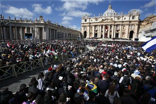 Crowds gather in St. Peter's Square for the inauguration Mass for Pope Francis at the Vatican on Tuesday.
