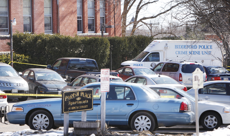 Gregory Rec/Staff Photographer: Police are investigating a shooting death that happened at Parish Place Apartments at 41 Birch Street in Biddeford on Tuesday morning. The shooting happened at 1:45 a.m.