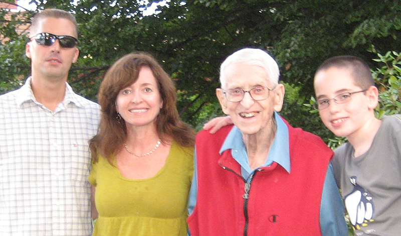 """Henry """"Bud"""" Griffin with family members in Yarmouth. From left are John DeSilvia, his daughter's boyfriend; Rosanne Griffin, Henry and Hunter Kremin, his grandson."""