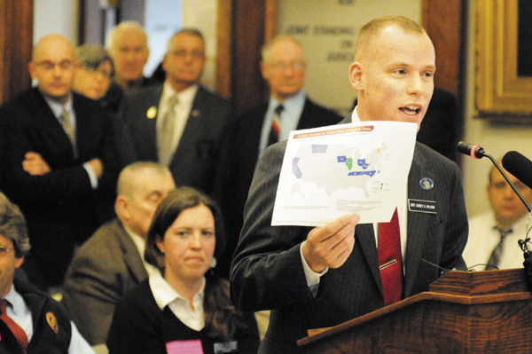 Rep. Corey Wilson, R-Augusta, introduces his bill L.D. 345, An Act to Ensure the Confidentiality of Concealed Weapons Permit Holder Information, before the Judiciary Committee Tuesday at the State House in Augusta.