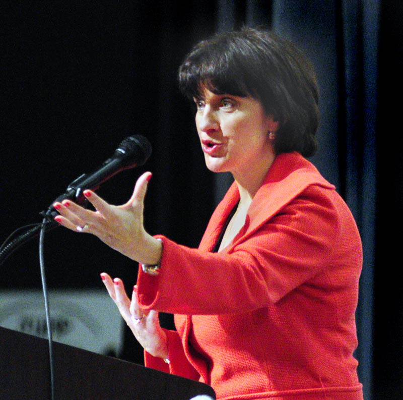 Jeanne Allen, of the Center for Education Reform, speaks during Governor's Conference on Education: Putting Students First on Friday at Cony High School in Augusta.