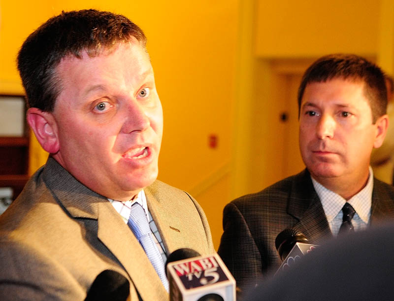 Minority Floor Leader Rep. Michael D. Thibodeau, R-WInterport, left, and Minority Leader Rep. Kenneth Fredette, R-Newport, answer questions during a news conference on Friday at the State House in Augusta.